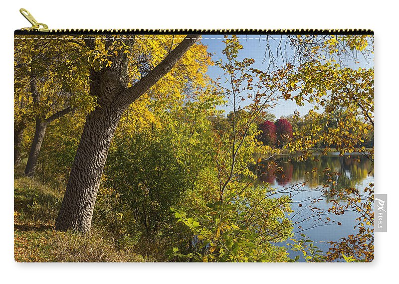 Lake Carry-all Pouch featuring the photograph Lake Winona Autumn 14 by John Brueske