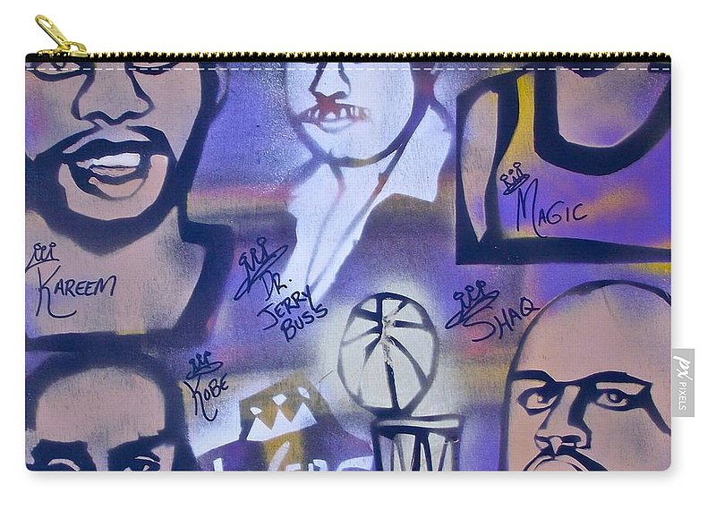 Kobe Bryant Carry-all Pouch featuring the painting Lakers Love Jerry Buss 2 by Tony B Conscious