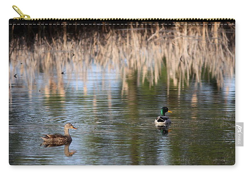 Nature Carry-all Pouch featuring the photograph Lakeside - Mallard by Travis Truelove