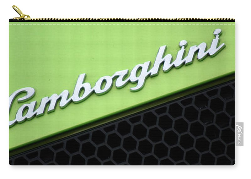 Lamborghini Carry-all Pouch featuring the photograph Lambologo8665 by Gary Gingrich Galleries