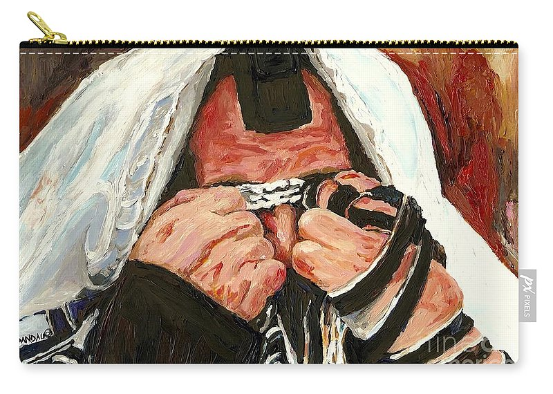Montreal Religious Portraits Carry-all Pouch featuring the painting Lamentations by Carole Spandau