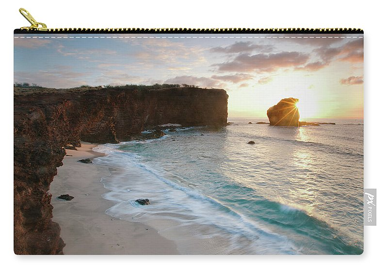 Scenics Carry-all Pouch featuring the photograph Lanai Sunset Resort Beach by M Swiet Productions