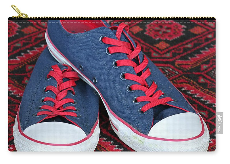 Converse All Star Shoes Carry-all Pouch featuring the photograph Lance's Shoes by E Faithe Lester
