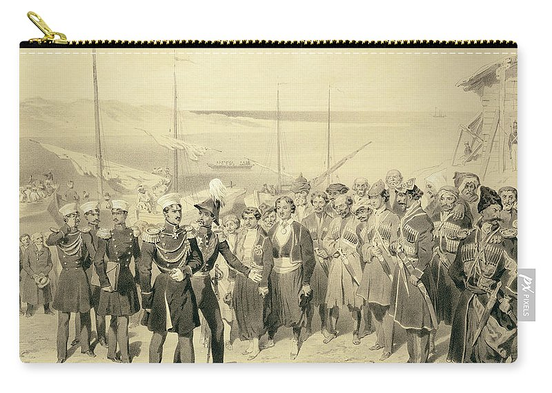 Chief Carry-all Pouch featuring the drawing Landing Of A Military Leader by Grigori Grigorevich Gagarin