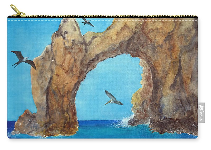 Lands End Carry-all Pouch featuring the painting Lands End by Patricia Beebe