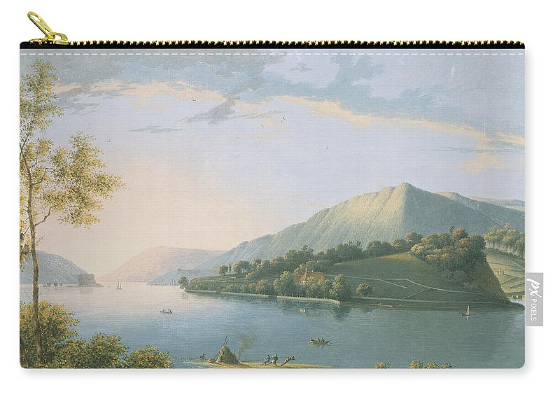 River Carry-all Pouch featuring the painting Landscape Along The Rhine by Joseph August Knip