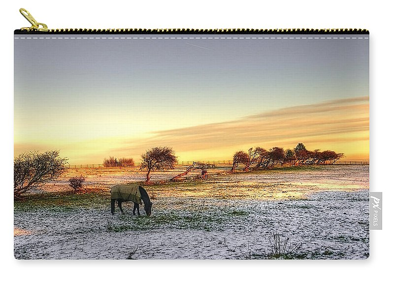 Tree Carry-all Pouch featuring the photograph Landscape And Horse by Svetlana Sewell