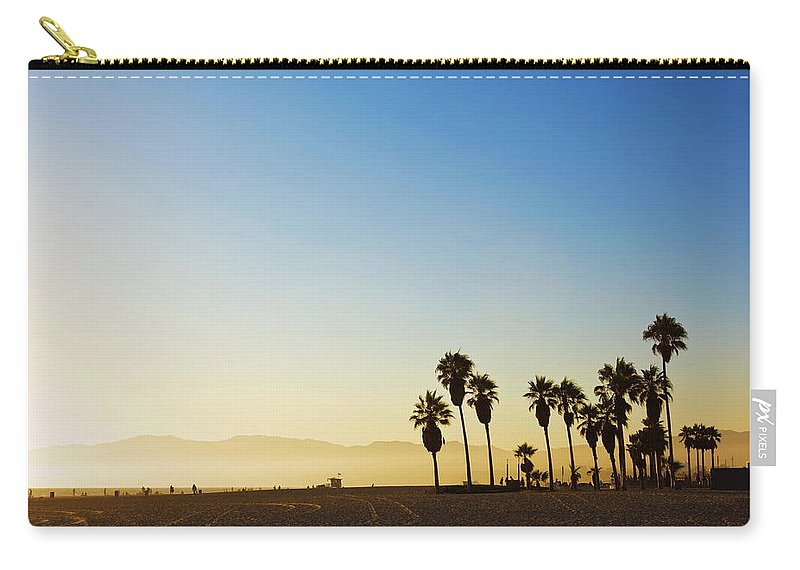 Santa Monica Mountains Carry-all Pouch featuring the photograph Landscape Image Of Venice Beach by Bluehill75