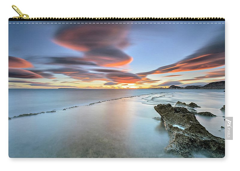 Tranquility Carry-all Pouch featuring the photograph Landscape In The Sea With Clouds by Photographer Of The World