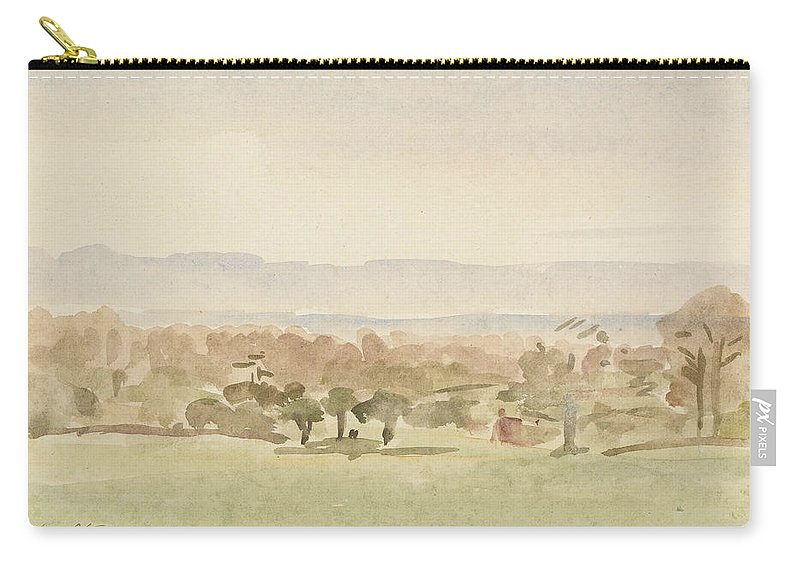 Landscape Carry-all Pouch featuring the drawing Landscape, Possibly Framlingham, Suffolk by Philip Wilson Steer