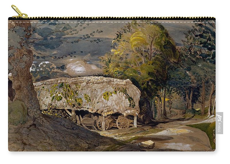 Landscape Carry-all Pouch featuring the drawing Landscape With A Barn, Shoreham, Kent by Samuel Palmer
