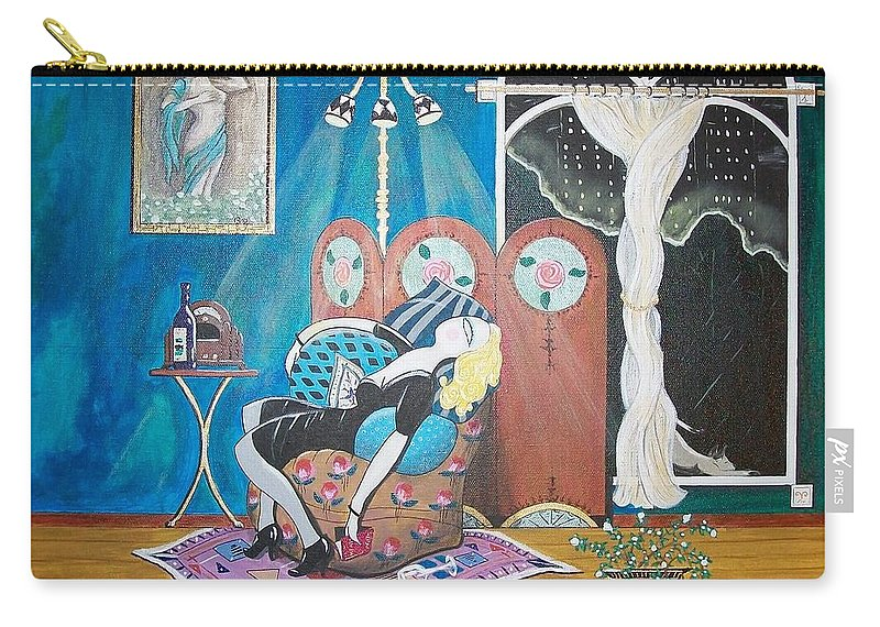John Lyes Carry-all Pouch featuring the painting Languid Lady In A Chair Brooding Over Poetry by John Lyes