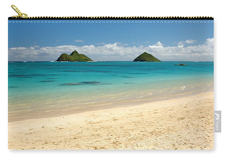 Lanikai Kailua Oahu Hawaii Beach Park Seascape Carry-all Pouch featuring the photograph Lanikai Beach 2 - Oahu Hawaii by Brian Harig
