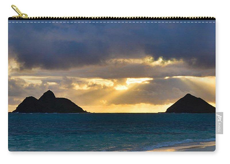 Lanikai Kailua Oahu Hawaii Beach Park Sunrise Panorama Seascape Carry-all Pouch featuring the photograph Lanikai Beach Sunrise Panorama 2 - Kailua Oahu Hawaii by Brian Harig