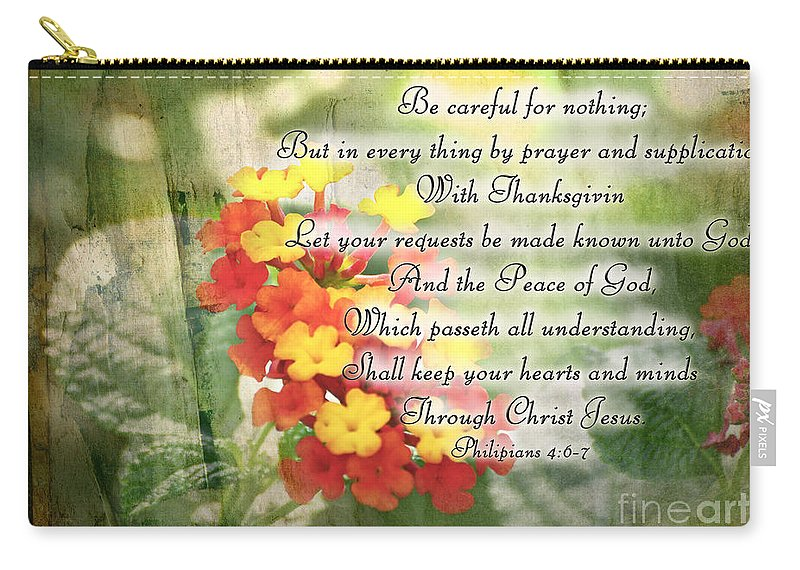 Nature Carry-all Pouch featuring the photograph Lantana Greeting Card With Verse by Debbie Portwood