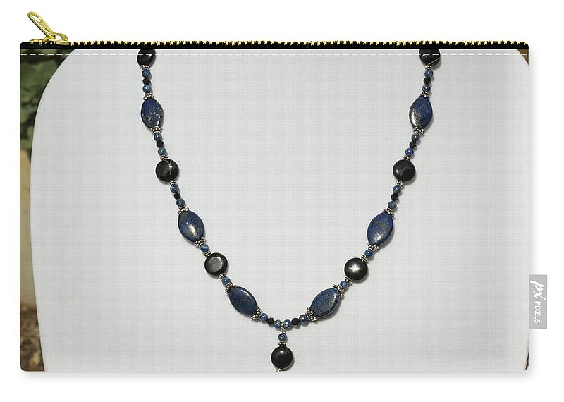 Teresa A Mucha Carry-all Pouch featuring the jewelry Lapis Lazuli And Black Onyx Lariat Necklace 3675 by Teresa Mucha