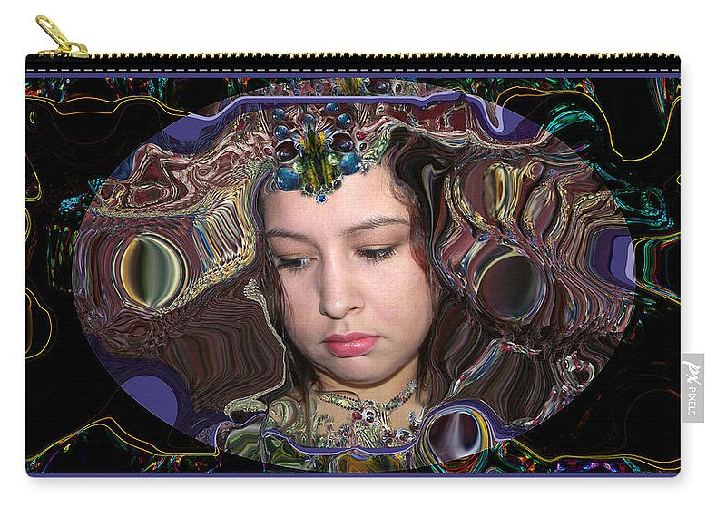 Portrait Carry-all Pouch featuring the digital art Lapislazuli Beauty by Otto Rapp