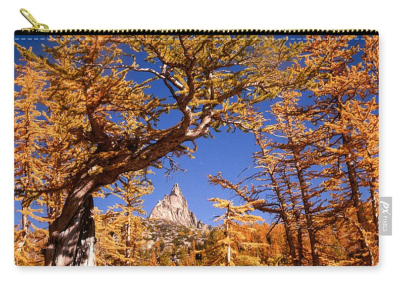Alpine Lakes Wilderness Carry-all Pouch featuring the photograph Larch Trees Frame Prusik Peak by Tracy Knauer