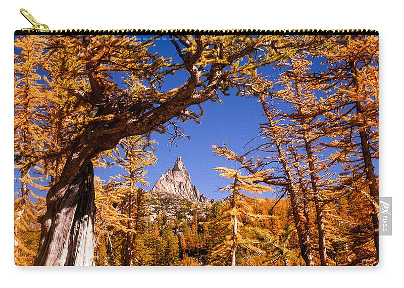 Larch Tree Carry-all Pouch featuring the photograph Larches Frame Prusik Peak by Tracy Knauer