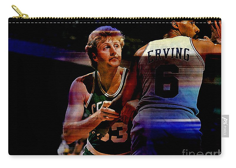 Bird Paintings Carry-all Pouch featuring the mixed media Larry Bird by Marvin Blaine