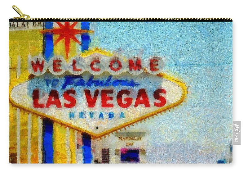 Las Vegas Sign Carry-all Pouch featuring the painting Las Vegas Sign by Dan Sproul