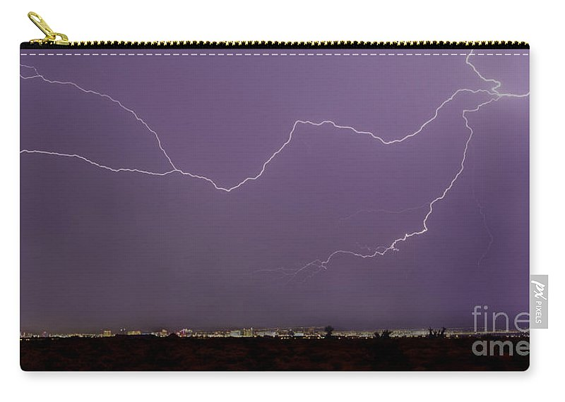 Lightning Carry-all Pouch featuring the photograph Las Vegas Strip by J L Woody Wooden