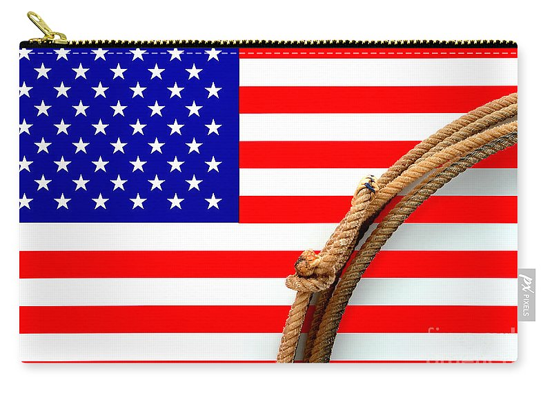 American Carry-all Pouch featuring the photograph Lasso And American Flag by Olivier Le Queinec