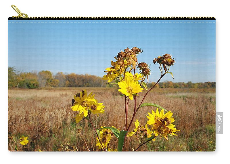 Flower Carry-all Pouch featuring the photograph Last Blooms Before Fall by Larry Ward