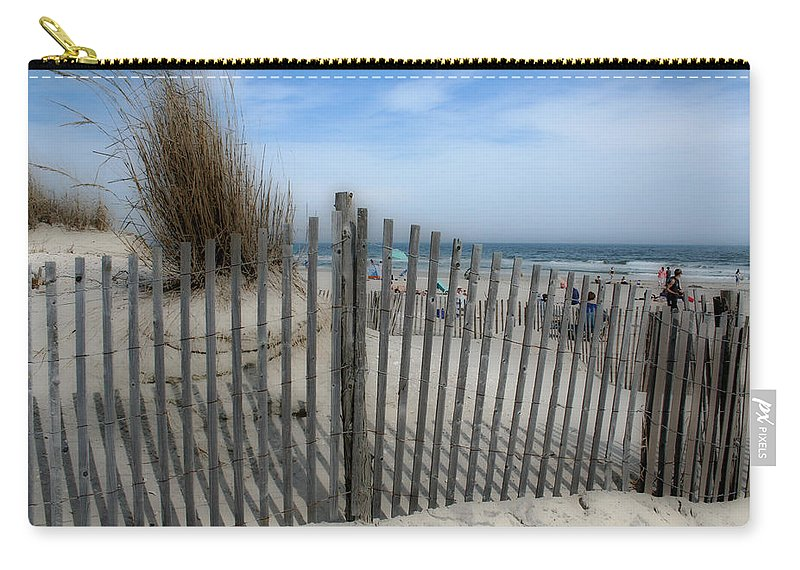 Landscapes Beach Art Sand Art Fence Wood Sky Blue Summertime Ocean Carry-all Pouch featuring the photograph Last Summer by Linda Sannuti