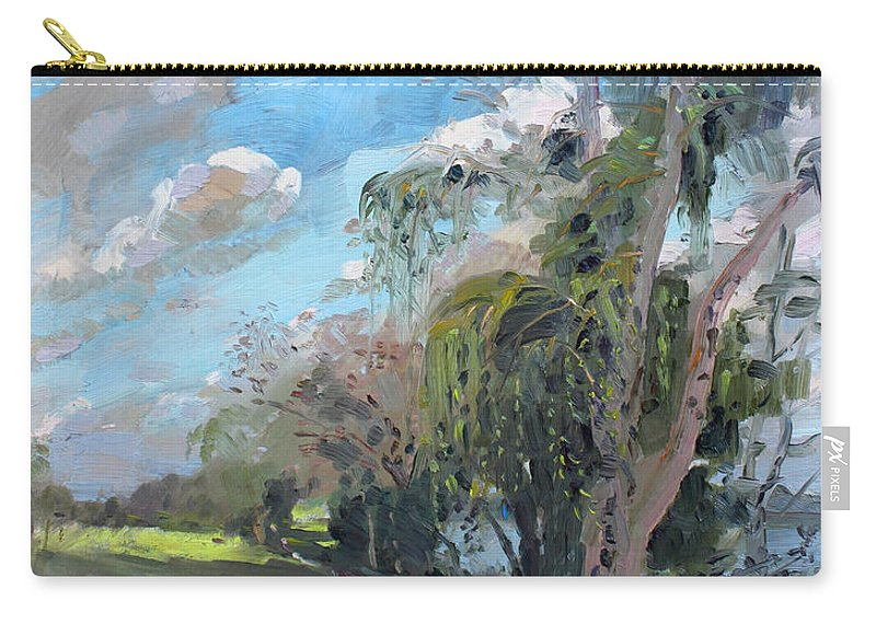 Niagara River Carry-all Pouch featuring the painting Late Afternoon By Niagara River by Ylli Haruni