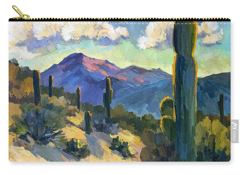 Late Afternoon Carry-all Pouch featuring the painting Late Afternoon Tucson by Diane McClary