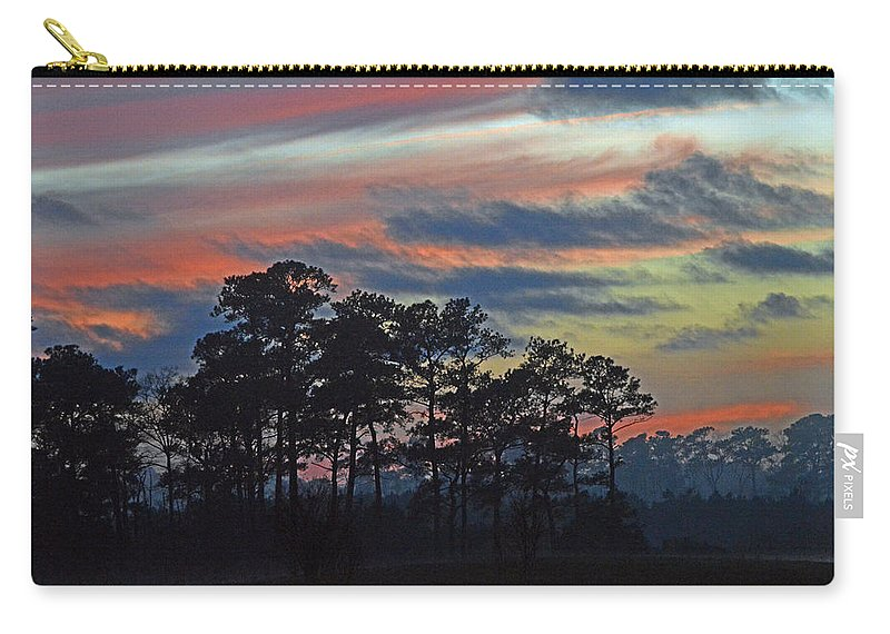 Late Sunset Carry-all Pouch featuring the photograph Late Sunset Trees In The Mist by Bill Swartwout Fine Art Photography