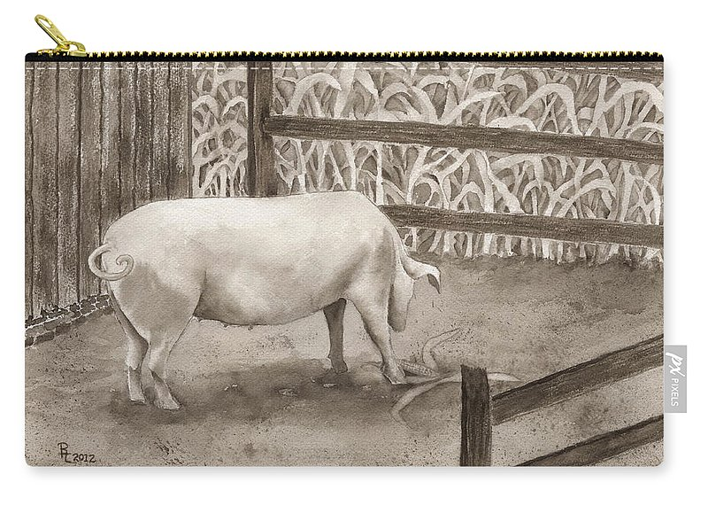 Pig Carry-all Pouch featuring the painting Latin by Rhonda Leonard