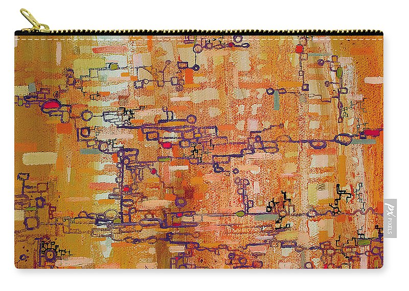 Lattice Carry-all Pouch featuring the painting Lattice Animals Abstract Oil Painting By Regina Valluzzi by Regina Valluzzi