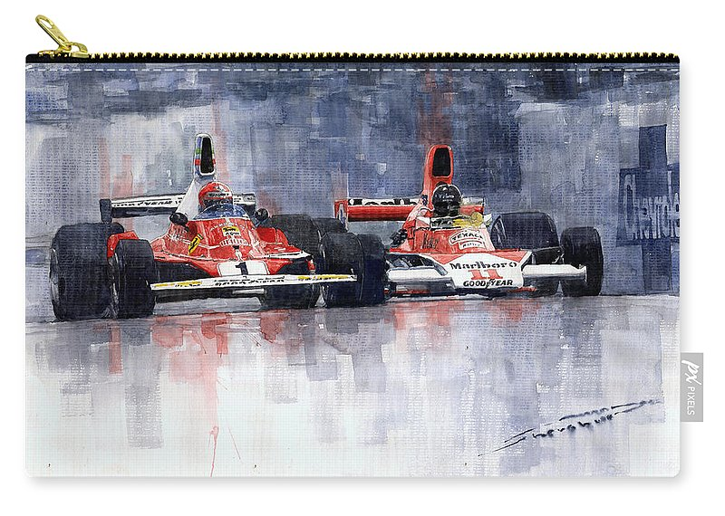 Watercolor Carry-all Pouch featuring the painting Lauda Vs Hunt Brazilian Gp 1976 by Yuriy Shevchuk