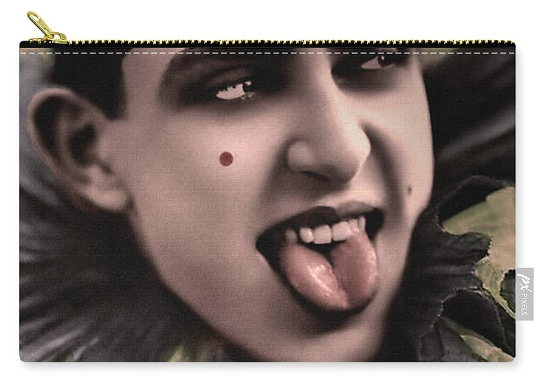 Laughing Carry-all Pouch featuring the photograph Laughing Pierrot Clown Vintage Art by Lesa Fine