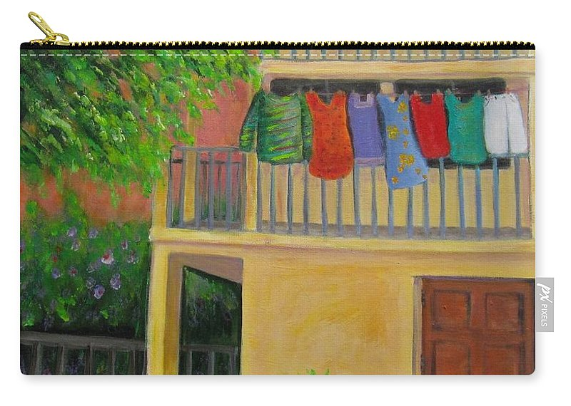 Laundry Carry-all Pouch featuring the painting Laundry Day by Laurie Morgan