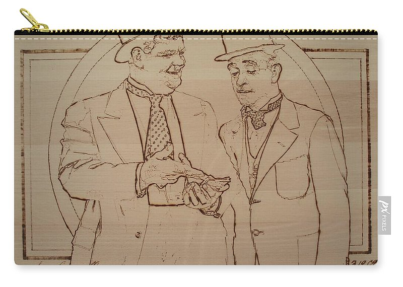 Pyrography Carry-all Pouch featuring the pyrography Laurel And Hardy - Thicker Than Water by Sean Connolly