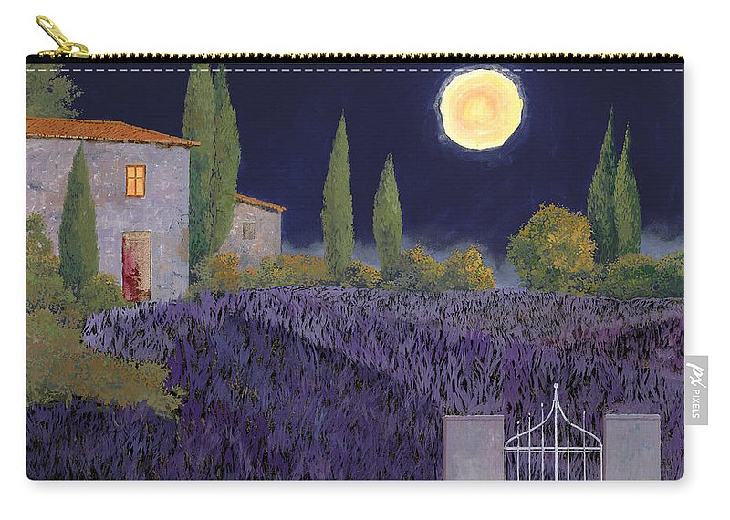 Tuscany Carry-all Pouch featuring the painting Lavanda Di Notte by Guido Borelli