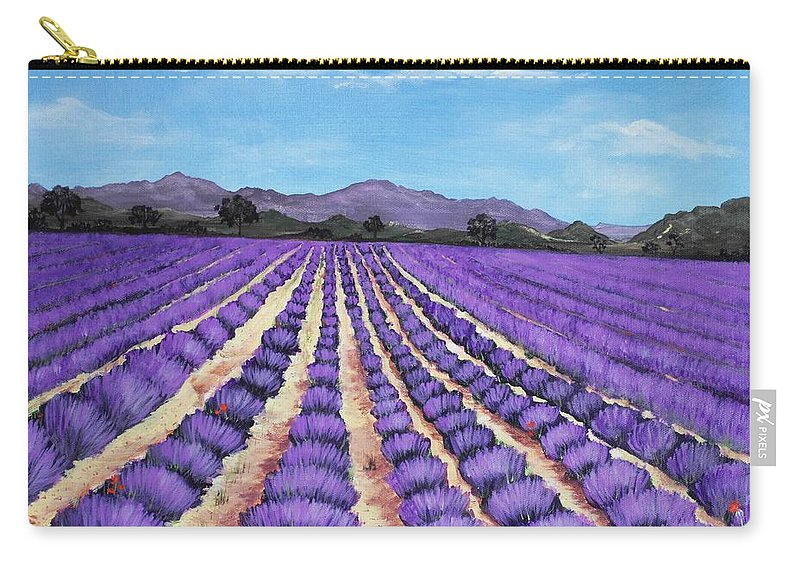 Interior Carry-all Pouch featuring the painting Lavender Field In Provence by Anastasiya Malakhova