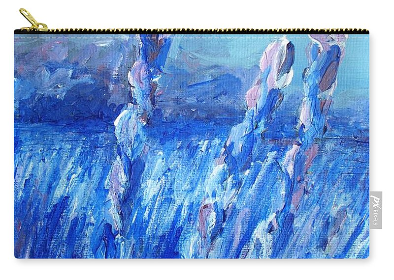 Lavender Carry-all Pouch featuring the painting Lavender Field Landscape by Eric Schiabor