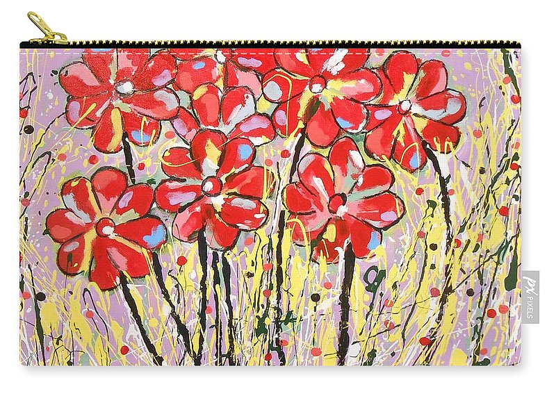 Abstract Carry-all Pouch featuring the painting Lavender Flower Garden by Gh FiLben