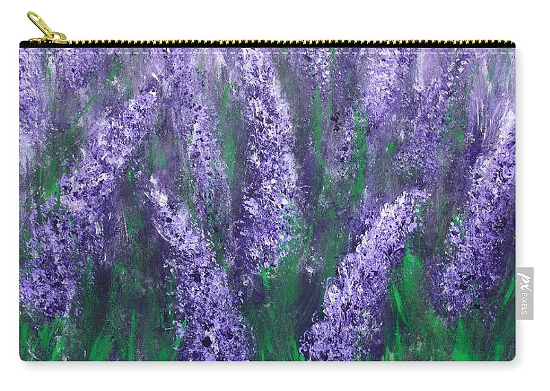 Lavender Carry-all Pouch featuring the painting Lavender Garden II by Kume Bryant