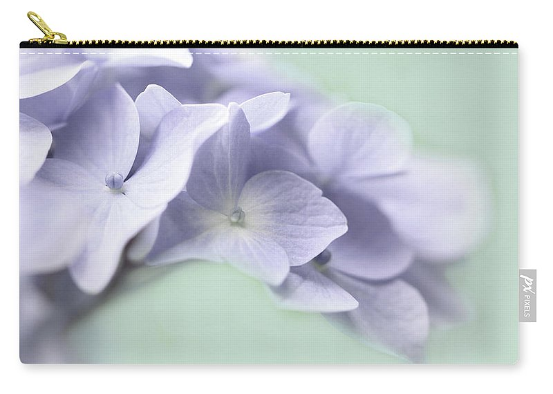 Hydrangea Carry-all Pouch featuring the photograph Lavender Hydrangea Flower Macro by Jennie Marie Schell