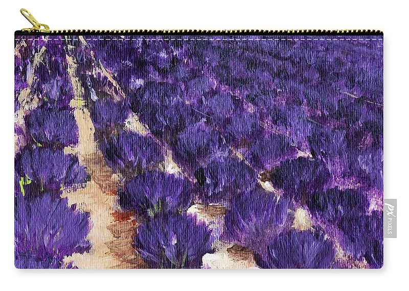Interior Carry-all Pouch featuring the painting Lavender Study - Marignac-en-diois by Anastasiya Malakhova