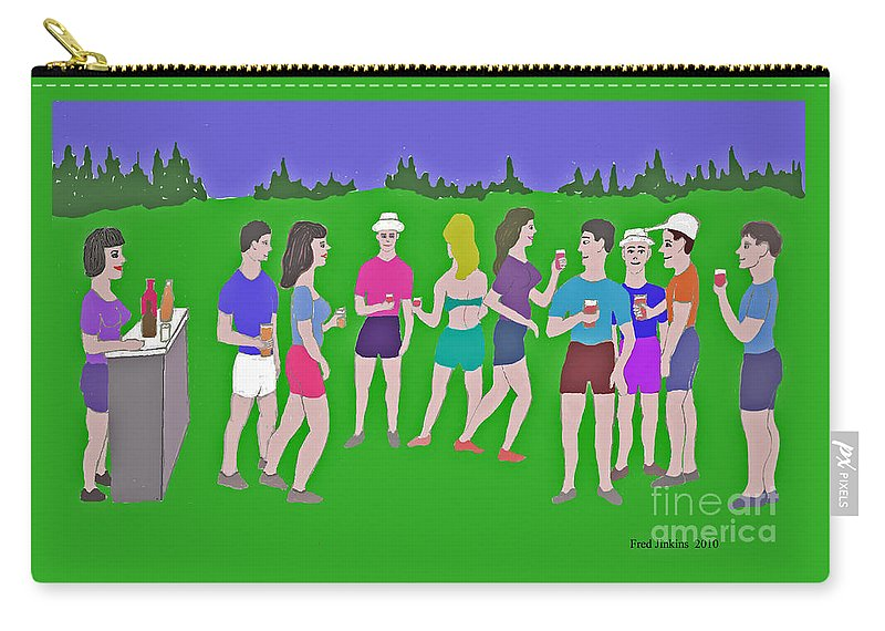 Party Carry-all Pouch featuring the painting Lawn Party by Fred Jinkins