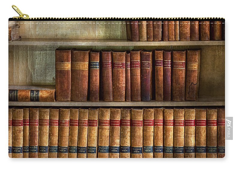 Savad Carry-all Pouch featuring the photograph Lawyer - Books - Law Books by Mike Savad