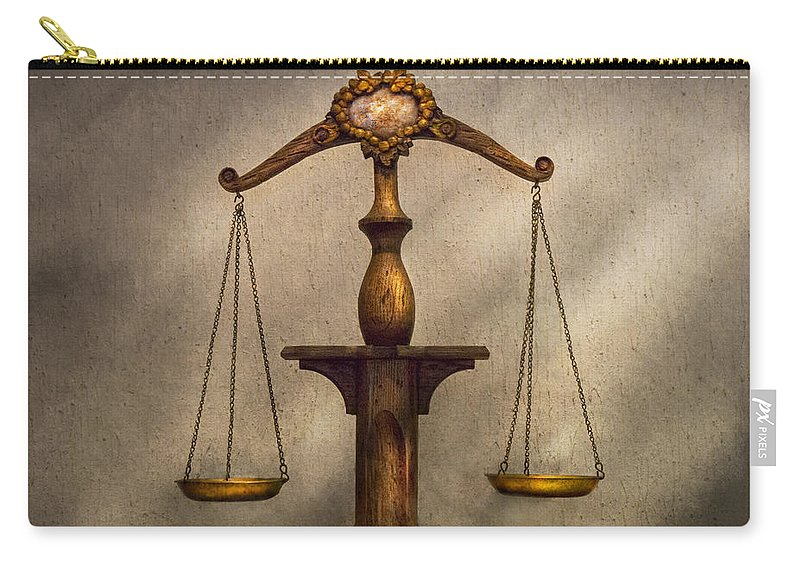 Law Carry-all Pouch featuring the photograph Lawyer - Scale - Fair And Just by Mike Savad