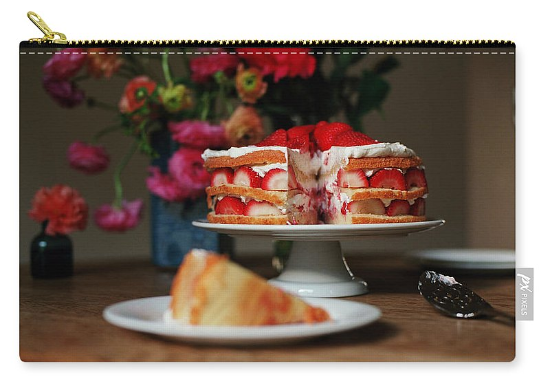 Vanilla Carry-all Pouch featuring the photograph Layered Strawberry Cake With Background by Katie Baxter