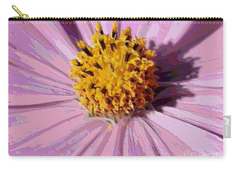 Pink Cosmos Carry-all Pouch featuring the photograph Layers Of A Cosmos Flower by Carol Groenen